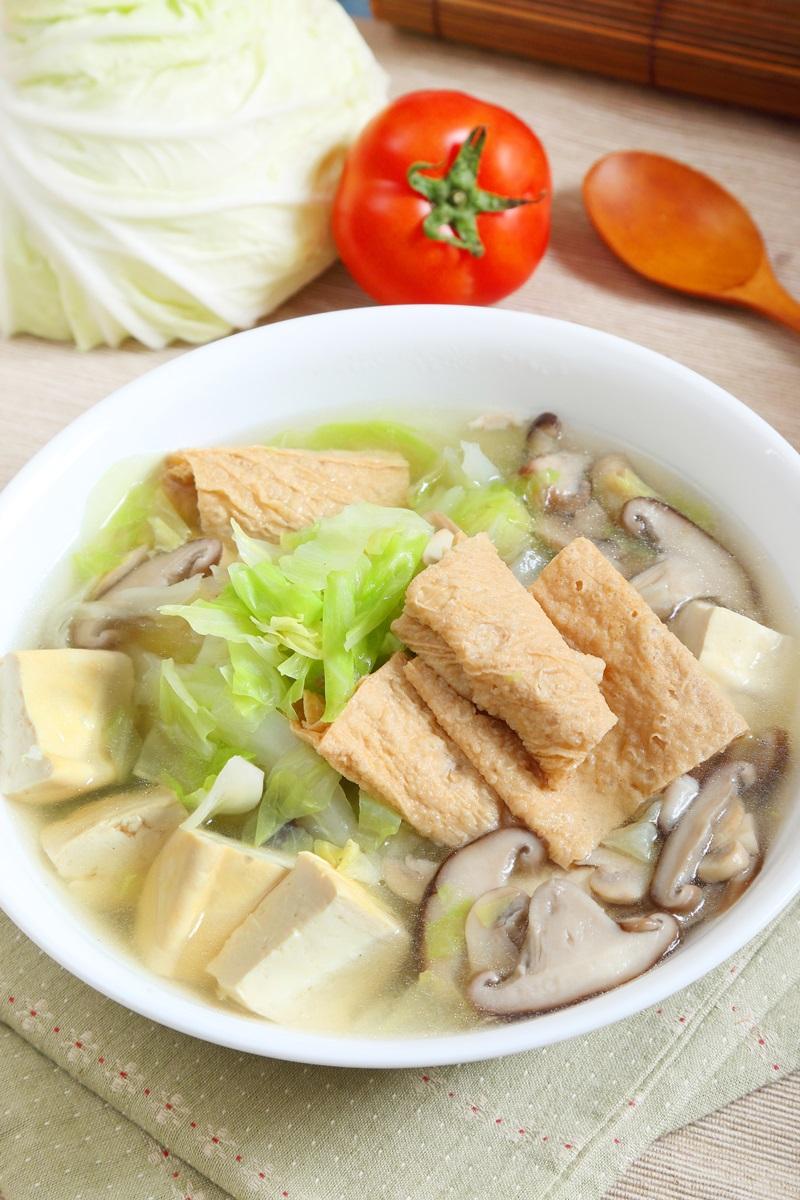 高麗菜腐皮菇菇湯