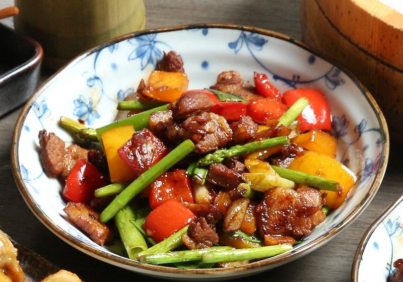 彩椒蘆筍豬五花肉
