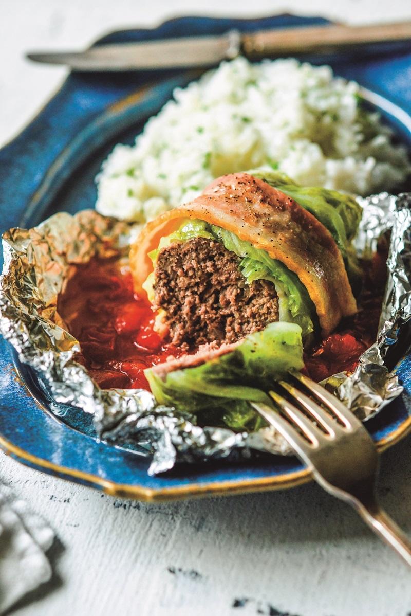 紙包食譜   蒸烤高麗菜絞肉捲