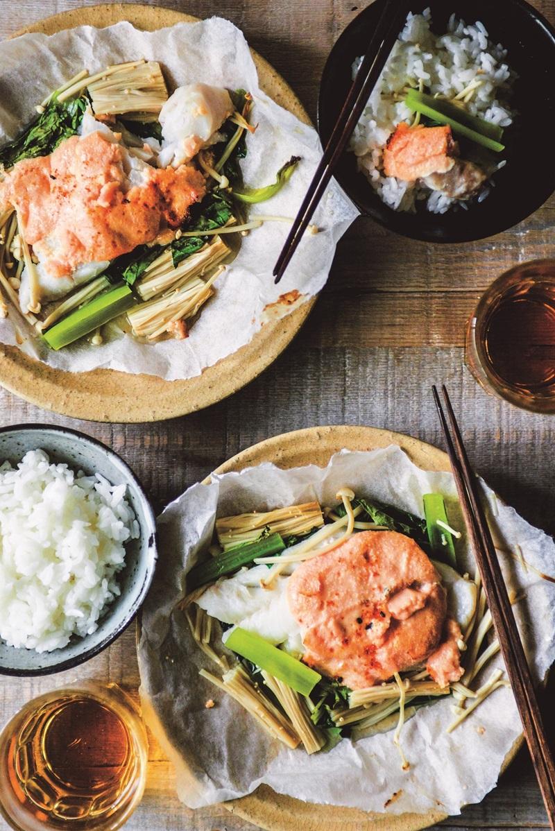 紙包食譜 · 美乃滋鱈魚親子燒