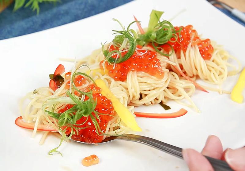 鮭魚卵天使義大利麵 (影音)