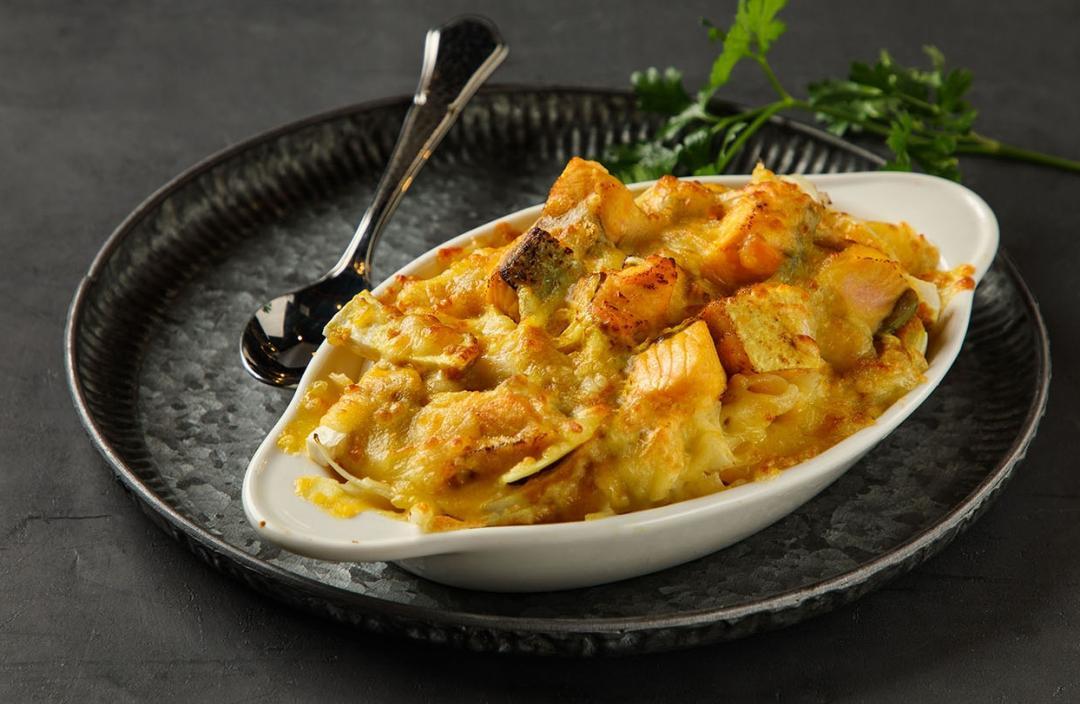焗烤鮭魚筆管麵|營養高鈣簡單搞定一餐