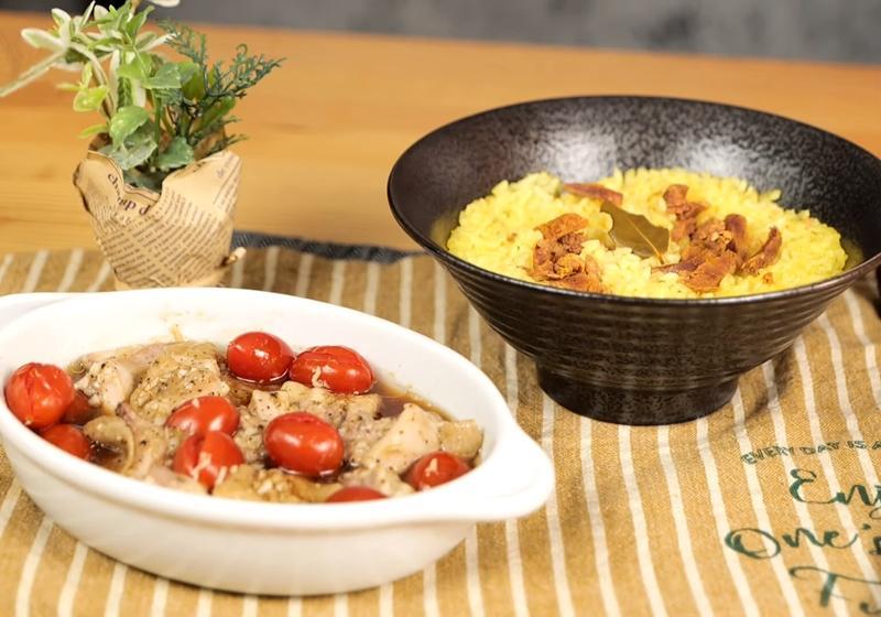小資族必學!一次兩道電鍋料理:番茄黑胡椒燒雞&薑黃肉香飯