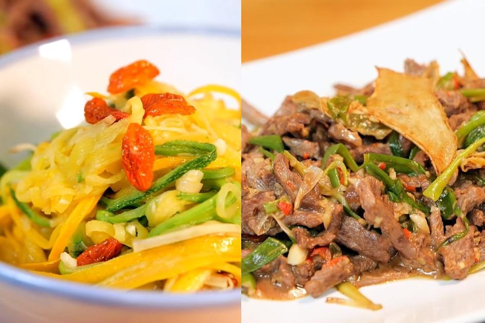 麻油櫛瓜麵+蔥爆麻油牛肉!補冬&坐月子必學麻油變化料理