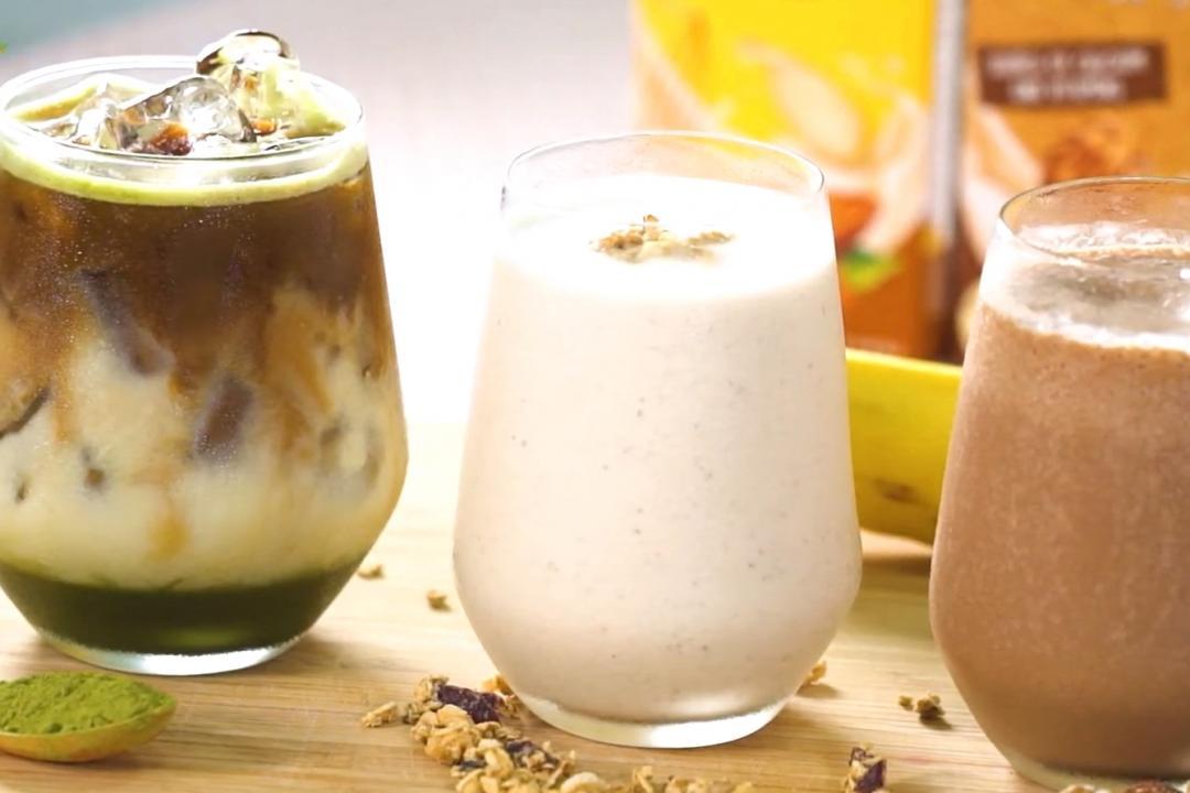 植物奶3種變化喝法:抹茶燕麥拿鐵、杏仁堅果飲、香蕉可可