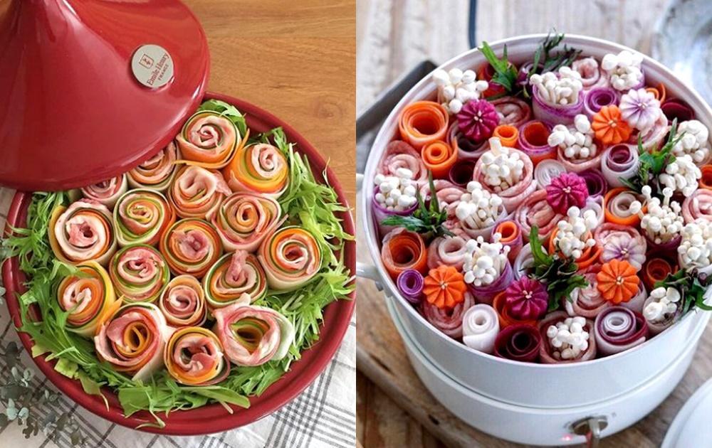 日本正夯「花畑鍋」上桌超吸睛!肉片、蔬菜捲捲花束做法圖解