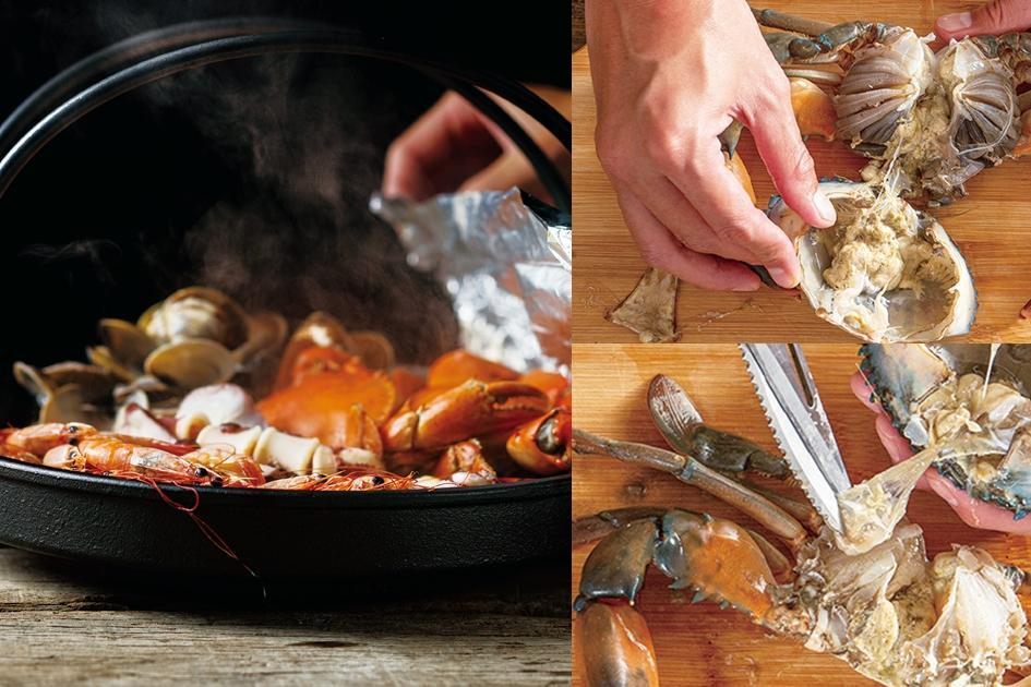 海女料理「海鮮鐵盆燒」塞滿鮮蝦中卷!螃蟹處理一次圖解