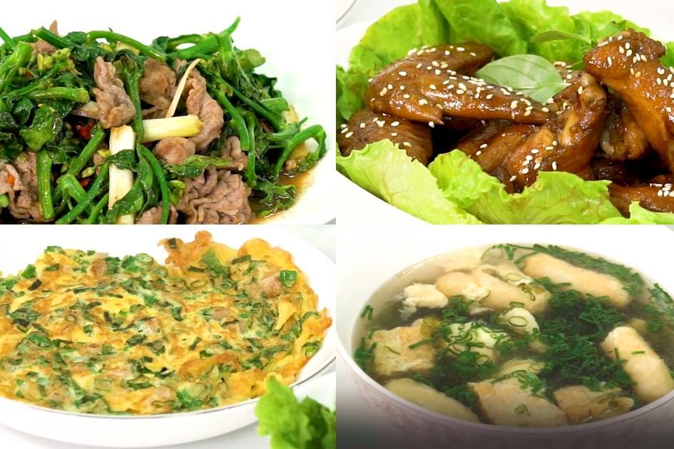 三菜一湯簡單煮》加料紫菜湯、芥蘭炒牛肉、可樂滷雞翅、菜脯蛋