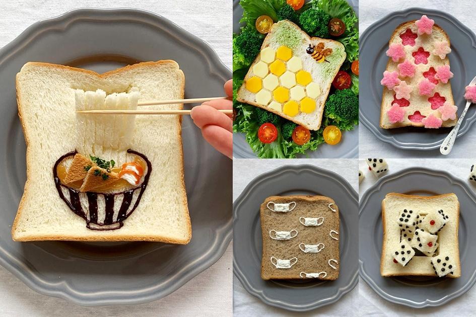 早餐沒靈感?她把「吐司當畫布」用果醬、餅乾模型就能玩創作