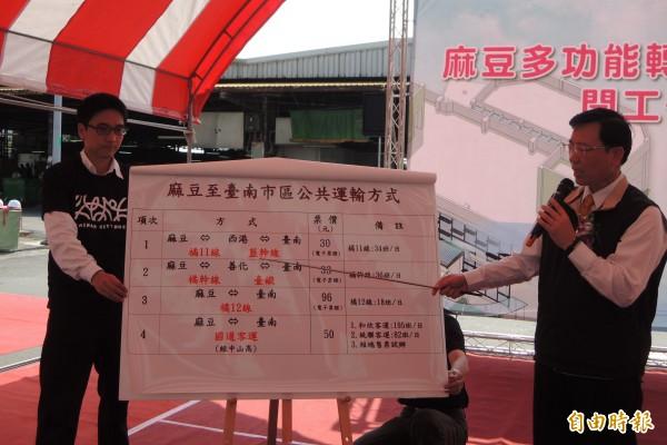 交通局長張政源(右)說明麻豆至台南市區公共運輸方式。(記者劉婉君攝)