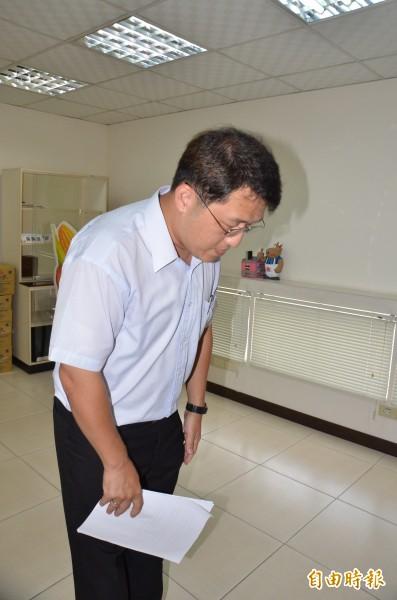 好帝一公司由行政管理部課長陳明杰出面聲明,並向社會各界致歉。(記者吳俊鋒攝)