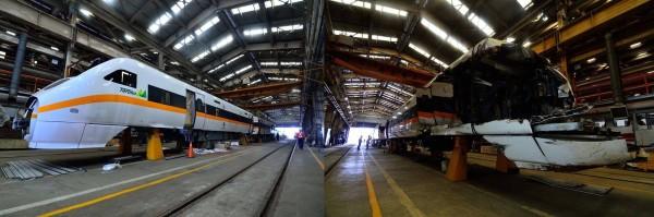 今天是台鐵台魯閣號埔新事故滿三年,台鐵公布受損編組TED1010修復過程以資紀念。(圖由台鐵提供)