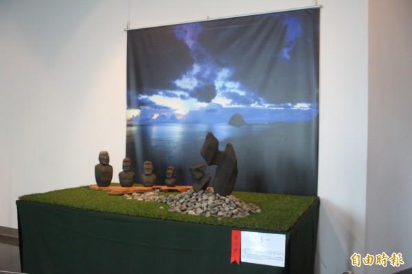 重現復活島景象的作品獲「佈局獎」。(記者俞泊霖攝)