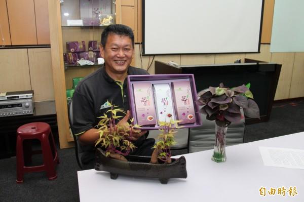 曾崇恩表示,他是受神明指示,將地瓜葉研發成茶葉,要讓民眾喝出健康。(記者陳冠備攝)