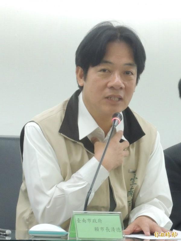 台南市長賴清德表示他的學歷在哈佛大學網站查得到。(記者洪瑞琴攝)