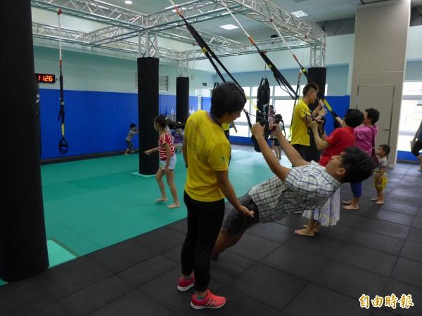 新五泰國民運動中心內的技擊教室。(記者李雅雯攝)