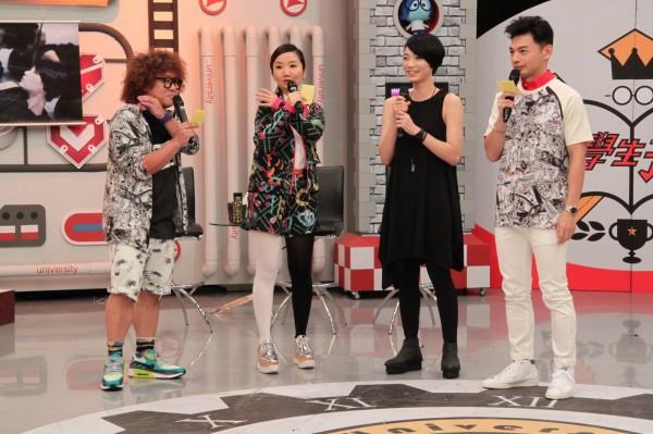 納豆(左起)、陶晶瑩、冷豔神正妹安臻、阿Ken。(中天提供)