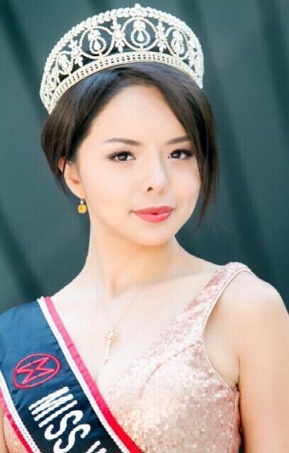 林耶凡獲得2015年加拿大世界小姐后冠,藉由選美來宣揚人權、自由與民主理念,並聲援受中共政權迫害人士。(林耶凡提供)