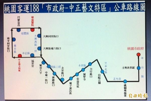 桃園客運「188」新公車路線圖。(記者李容萍攝)