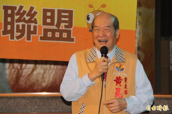 台灣團結聯盟到基隆慶安宮舉辦「反併吞顧台灣」宣講會。(記者林欣漢攝)