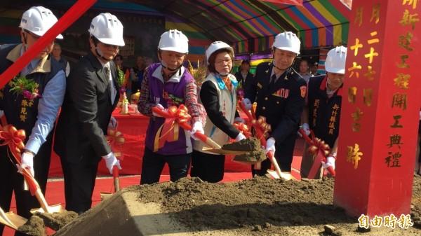 新竹縣新埔警分局關西分駐所新建工程今天動土開工。(記者黃美珠攝)