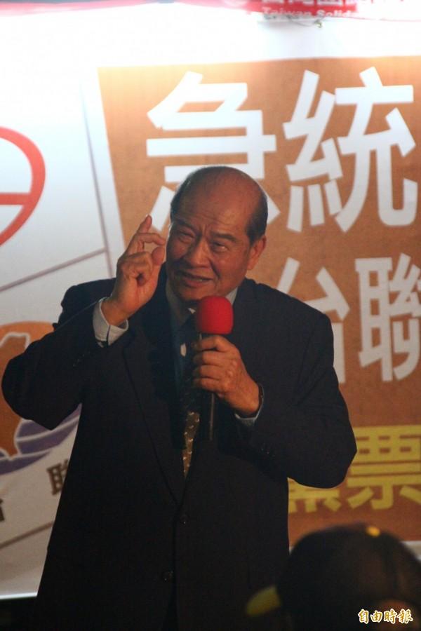 台聯主席黃昆輝說,台聯是反對中國併吞台灣的第一品牌。(記者林宜樟攝)