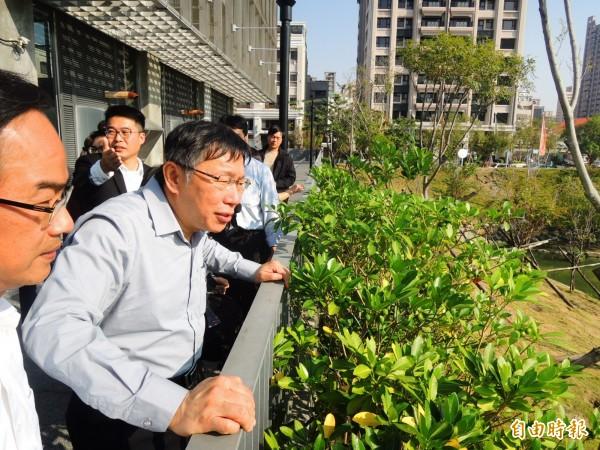 台北市長柯文哲參訪高雄市寶業里滯洪池。(記者葛祐豪攝)