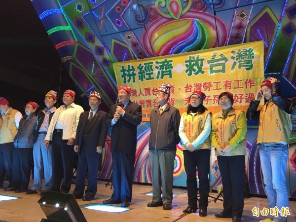 台聯黨主席黃昆輝懇請民眾政黨票投台聯。(記者黃淑莉攝)
