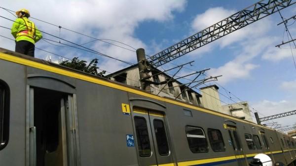 台鐵樹林站附近今天上午11點15分發生電車線故障。(台鐵提供)