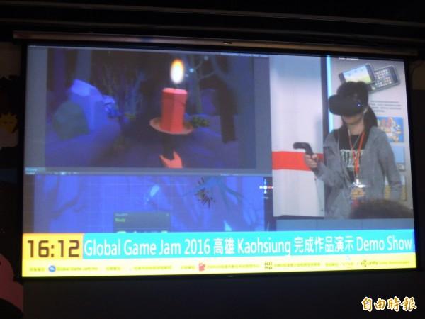 高雄遊戲開發者設計的小紅帽回家VR遊戲。(記者葛祐豪攝)