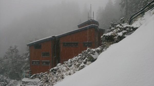 玉山三月雪又急又大,短短三個多小時排雲山莊已成一片銀白世界。(玉管處提供)