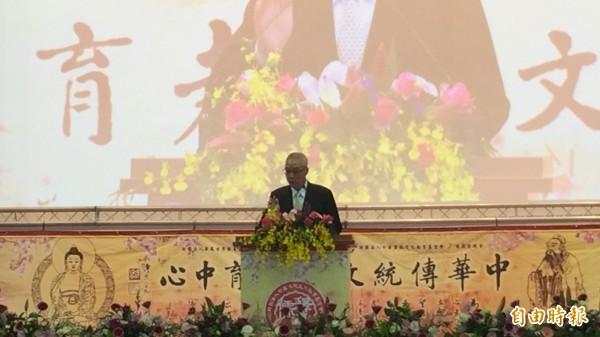 華藏衛視中華傳統文化教育中心開幕,副總統吳敦義出席致賀。(記者羅欣貞攝)