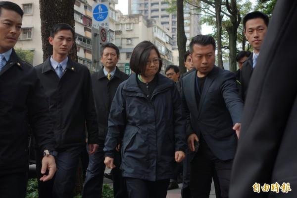 總統當選人蔡英文到場哀悼。(記者姜翔攝)