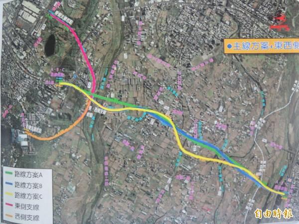 新竹縣政府辦理台1線替代道路(新豐-新竹)先期規劃,主線初步研擬A、B、C三個路線方案。(記者廖雪茹攝)