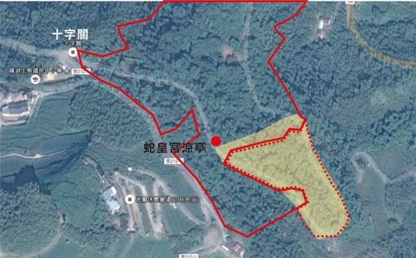 陳清圳標示出被破壞的林地所在位置。(陳清圳提供)