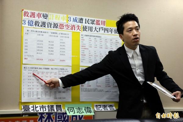 台北市議員何志偉指北市救護車已淪為計程車。(記者盧姮倩攝)