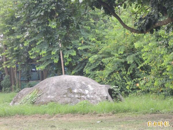 虎尾拯民國小校園內仍保留日治時期的軍事碉堡。(記者廖淑玲攝)
