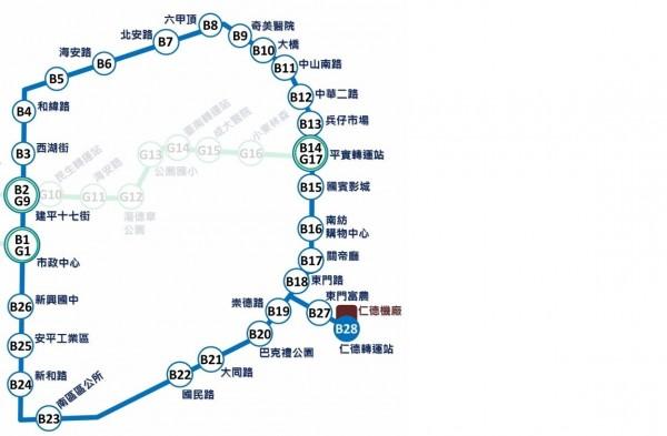 藍線(中華環線)規劃設28站。(記者洪瑞琴翻攝)