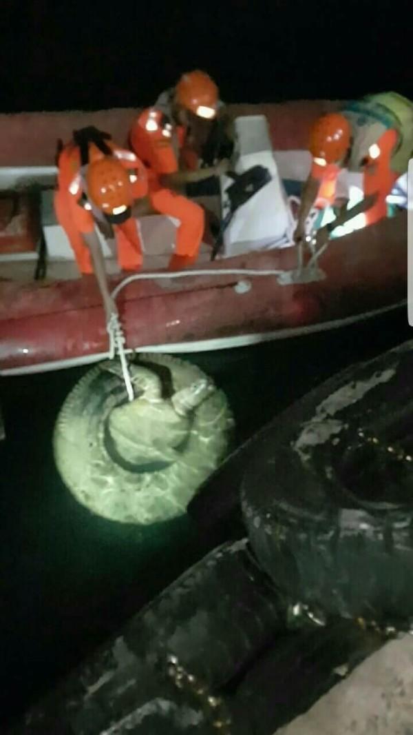 海巡人員將綠蠵龜及輪胎拉近查看(記者葉永騫翻攝)