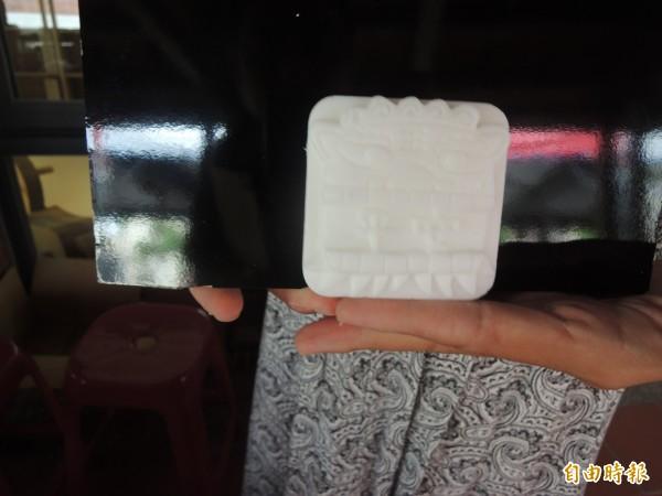 詔安客家文化會館今落成,現場展出開口獅造型手工皂。(記者陳燦坤攝)