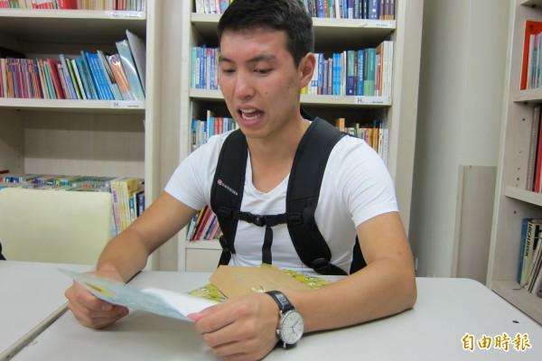 布勒甘來台灣家扶基金會,感謝家扶及認養人的協助。(記者蘇金鳳攝)