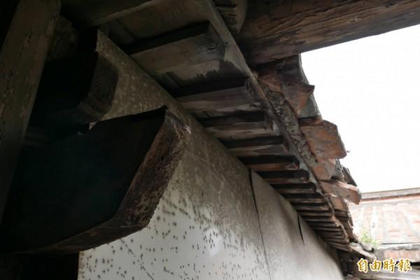歷史建築鹿港十宜樓的天井2樓圓木、通道磚造排水溝,都掉落地面,其它磚片也岌岌可危。(圖由莊研育提供)