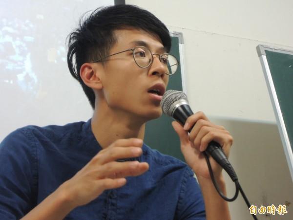 港獨青年領袖黃台仰來台南社區大學演講。(記者洪瑞琴攝)