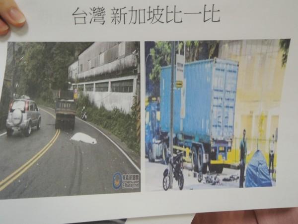 市議員賴惠員建議車禍死亡遺體,仿新加坡作法,以小帳棚取代蓋白布。(記者洪瑞琴翻攝)