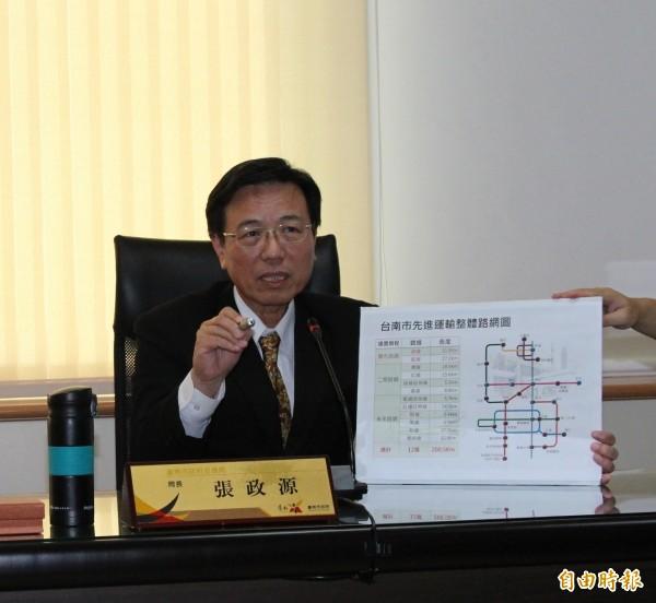 交通局長張政源表示,先進運輸系統是現代化城市表徵,希望台南10年有第1條捷運。(記者洪瑞琴攝)