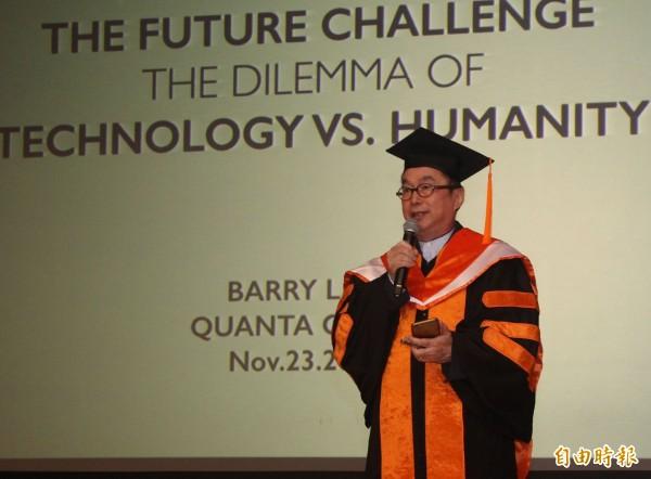 廣達電腦公司創辦人林百里董事長今天以「科技與人文」為題發表演講。(記者陳建志攝)
