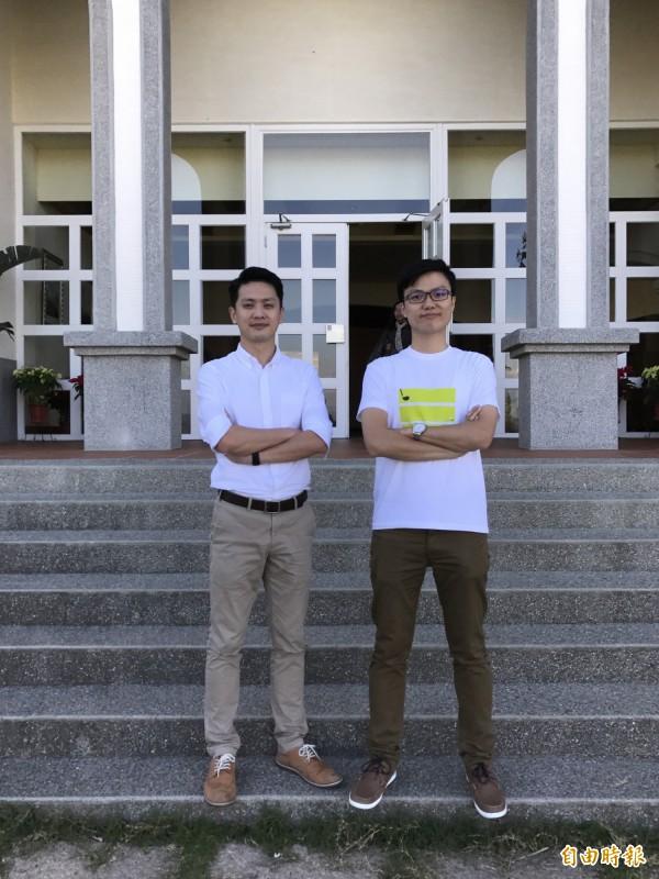 廖聰哲(左)與李將碩三年前成立綠夾克運動事業,誓言開發出最智慧的高爾夫服務平台。(記者陳炳宏攝)