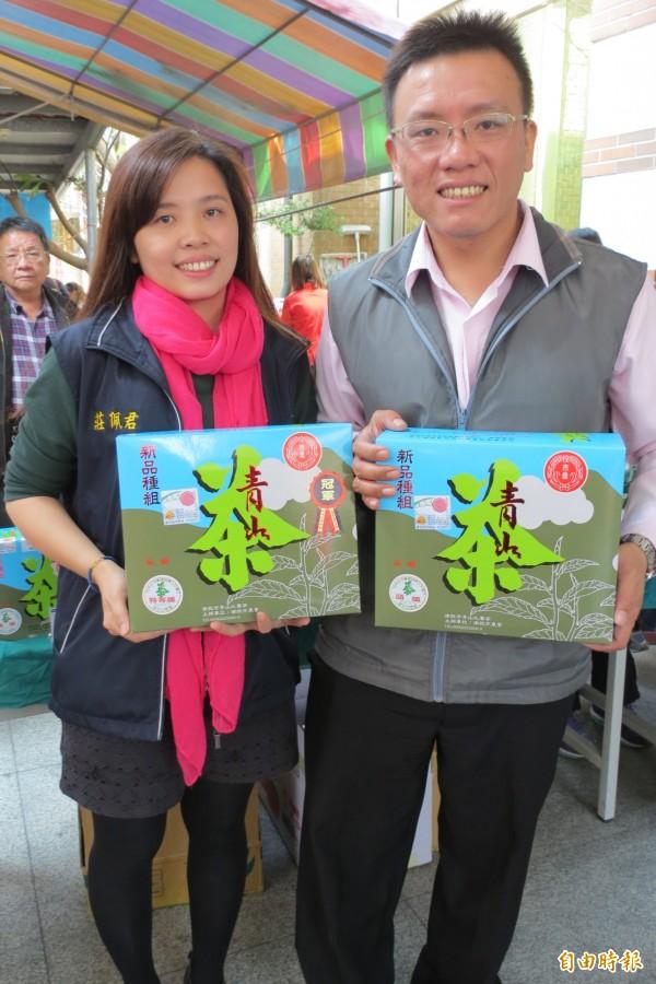 南投市冬季青山茶比賽,兄妹檔茶農莊民宏、莊佩君包辦33個獎。(記者張協昇攝)