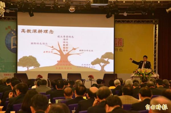 教育部次長陳良基表示,當初私校興學具熱忱,但不支持提供金錢或資源誘因讓私校退場,重點在教育理念與熱忱,無熱忱者就離開。(記者吳柏軒攝)