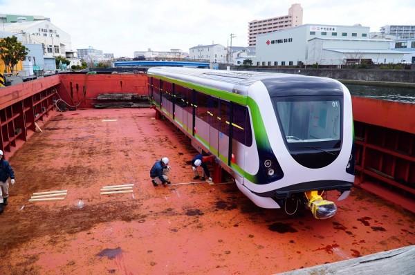 台中捷運綠線電聯車是由日本川崎重工業株式會社承攬製造。(圖:交通局提供)
